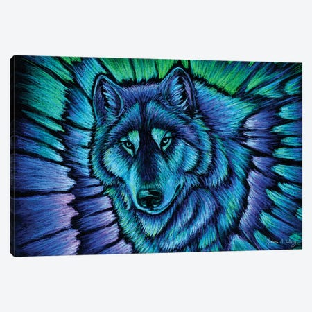 Wolf Aurora Canvas Print #RBW39} by Rebecca Wang Canvas Wall Art