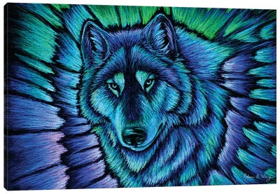 Wolf Aurora by Rebecca Wang Canvas Art Print
