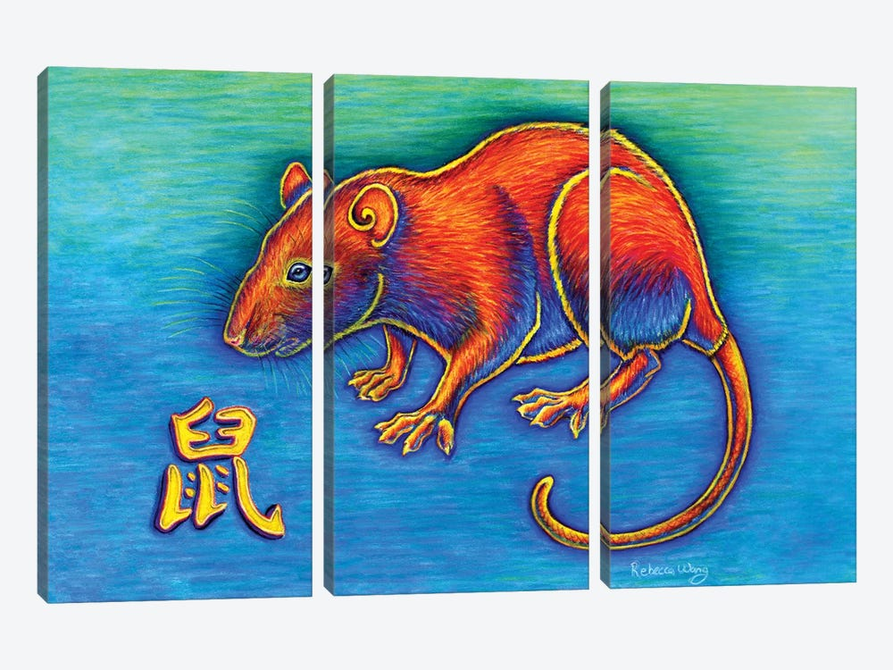 Year of the Rat by Rebecca Wang 3-piece Canvas Wall Art