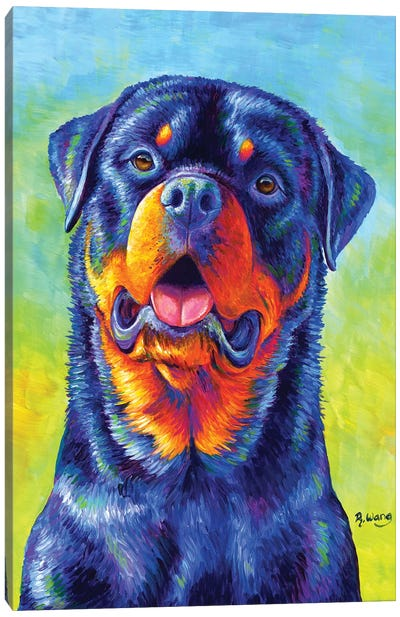 Gentle Guardian - Colorful Rottweiler by Rebecca Wang Canvas Art Print