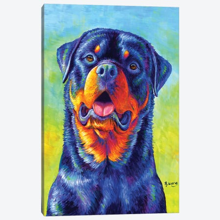 Gentle Guardian - Colorful Rottweiler Canvas Print #RBW46} by Rebecca Wang Canvas Wall Art