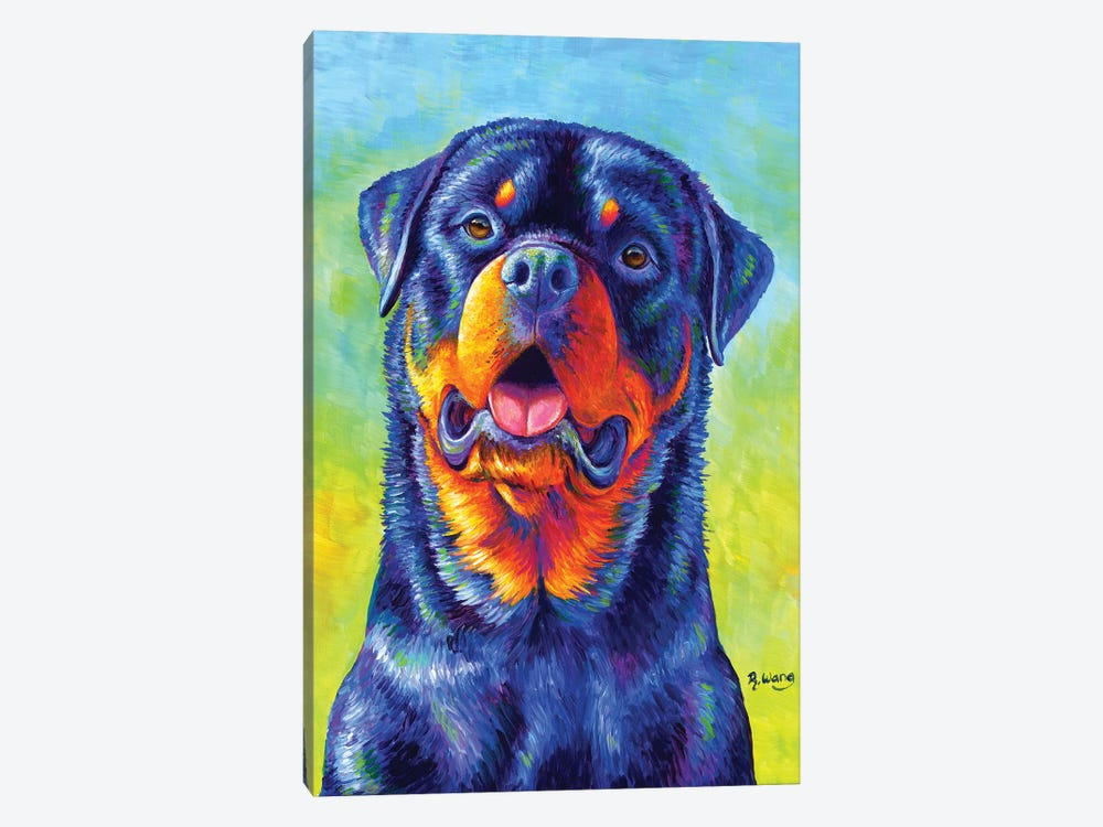 Gentle Guardian - Colorful Rottweiler by Rebecca Wang 1-piece Canvas Art Print