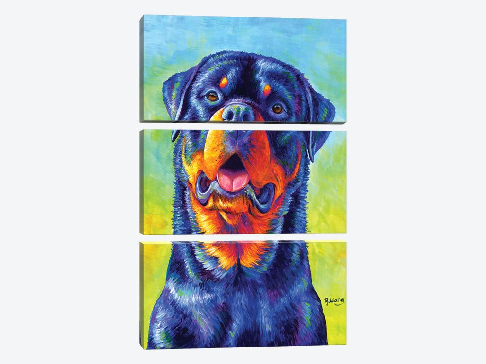 Gentle Guardian - Colorful Rottweiler by Rebecca Wang 3-piece Canvas Print