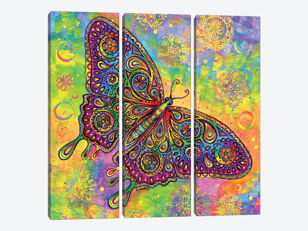 Paisley Butterfly by Rebecca Wang 3-piece Canvas Art