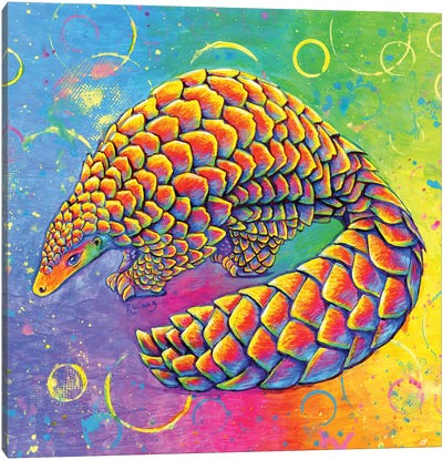 Psychedelic Pangolin Canvas Art Print