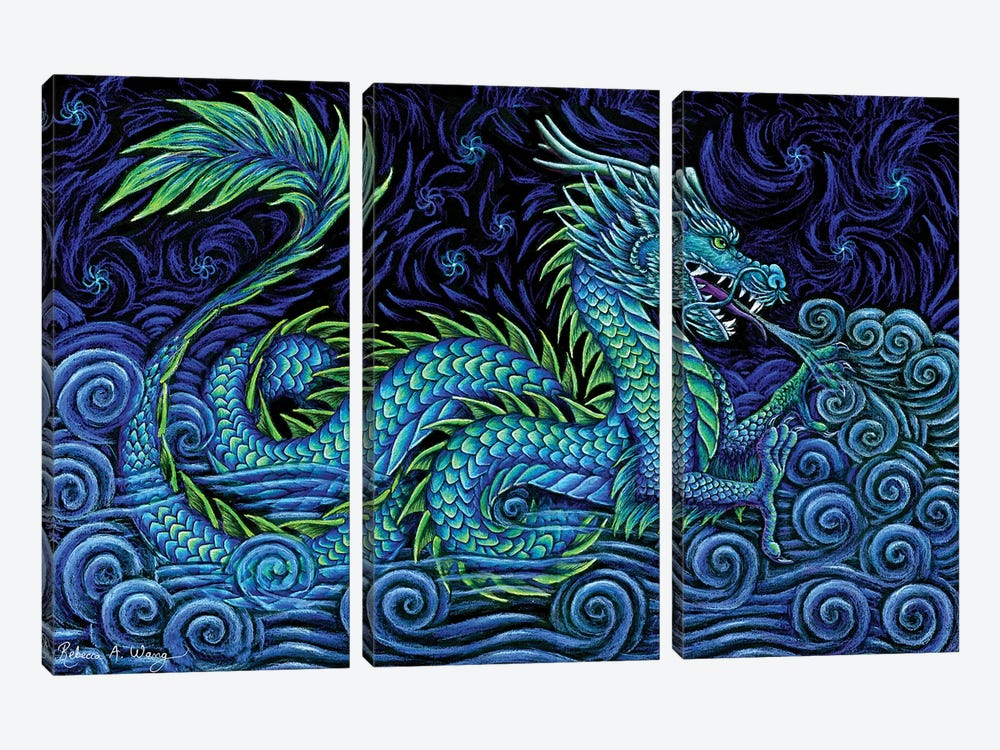 Chinese Azure Dragon by Rebecca Wang 3-piece Canvas Print