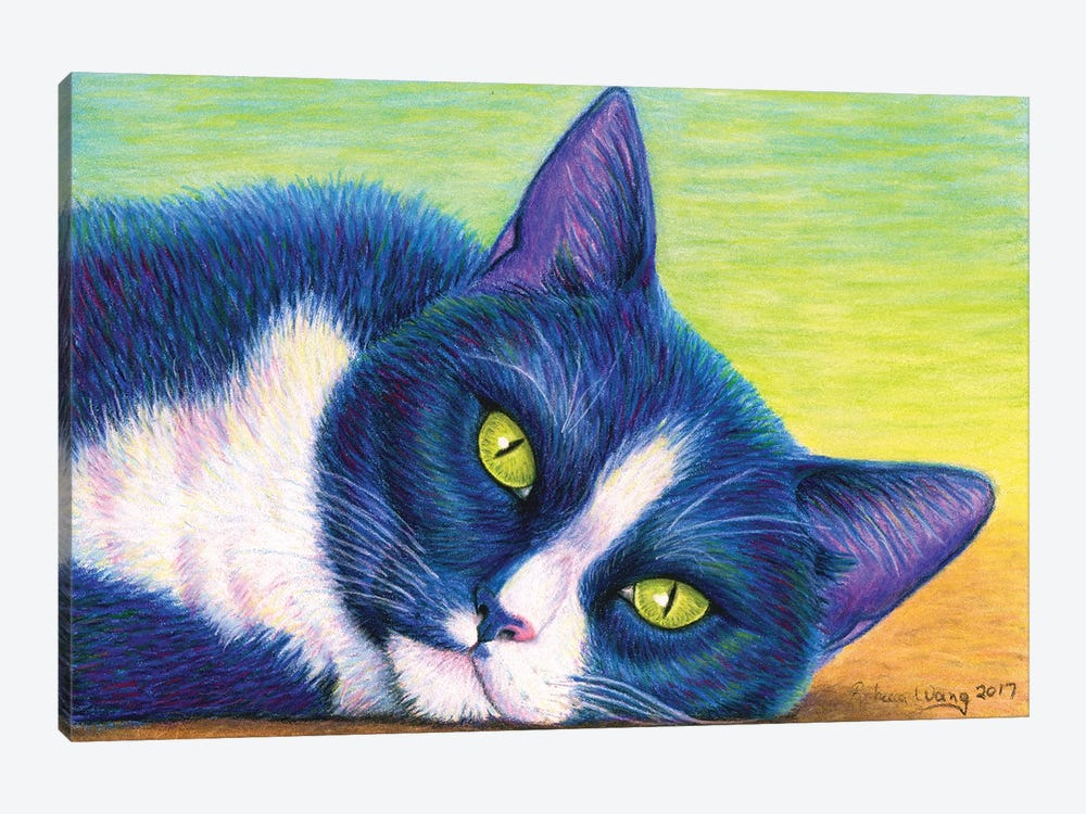 Colorful Tuxedo Cat by Rebecca Wang 1-piece Canvas Artwork