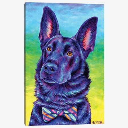 Colorful Black German Shepherd Canvas Print #RBW52} by Rebecca Wang Canvas Artwork