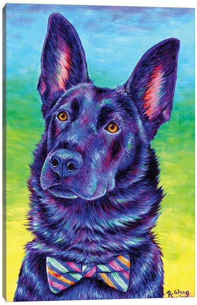 Colorful Black German Shepherd Canvas Art Print
