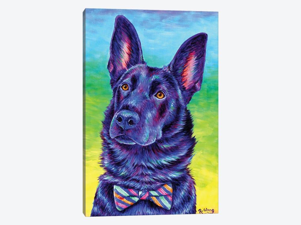Colorful Black German Shepherd by Rebecca Wang 1-piece Canvas Artwork