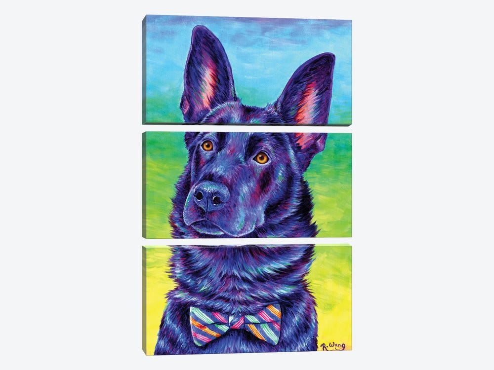 Colorful Black German Shepherd by Rebecca Wang 3-piece Canvas Wall Art