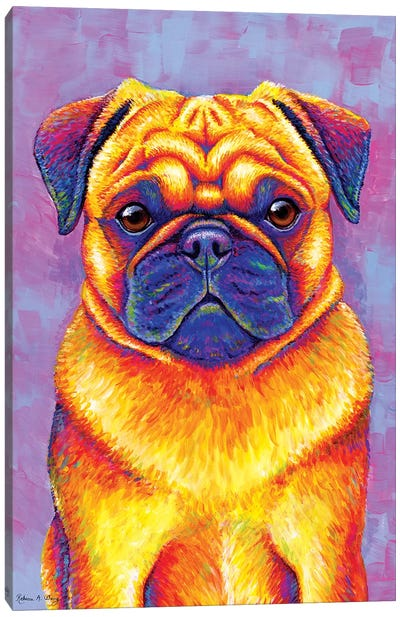Comic Relief - Pug by Rebecca Wang Canvas Art Print