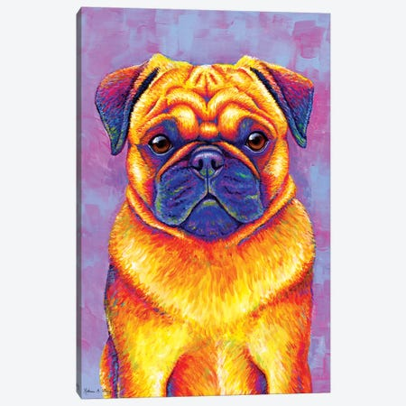 Comic Relief - Pug Canvas Print #RBW5} by Rebecca Wang Canvas Wall Art