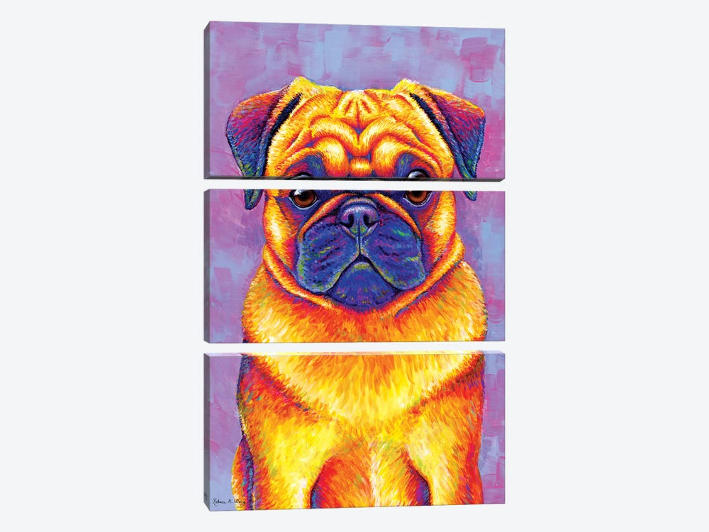 Comic Relief - Pug by Rebecca Wang 3-piece Canvas Art
