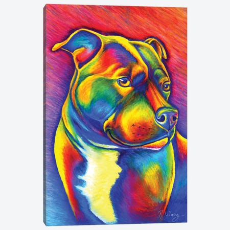 Rainbow Staffy Canvas Print #RBW66} by Rebecca Wang Canvas Art