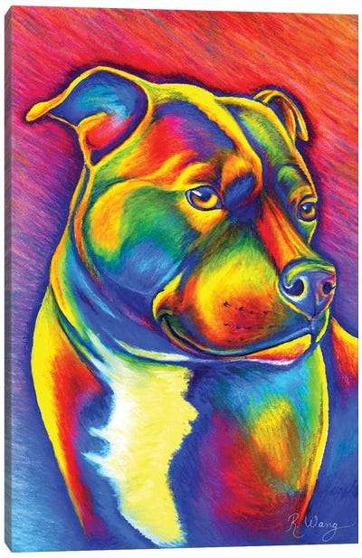 Rainbow Staffy Canvas Art Print