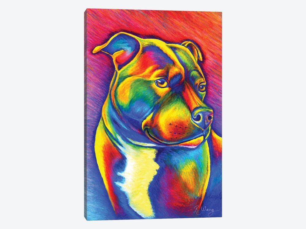 Rainbow Staffy by Rebecca Wang 1-piece Canvas Art Print