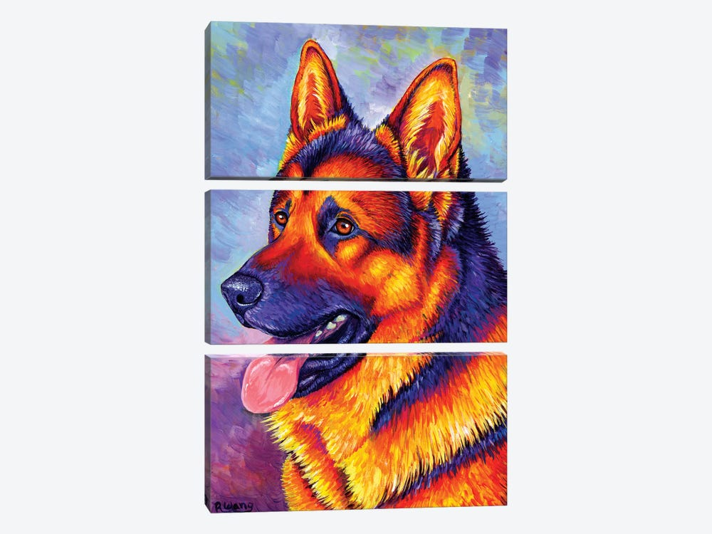 Courageous Partner - German Shepherd Dog by Rebecca Wang 3-piece Canvas Print