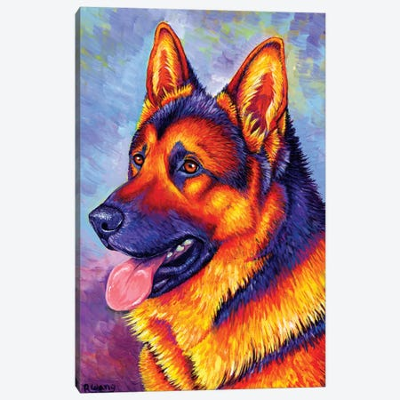 Courageous Partner - German Shepherd Dog Canvas Print #RBW6} by Rebecca Wang Canvas Art
