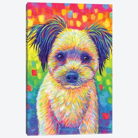 Cute Rainbow Puppy Canvas Print #RBW71} by Rebecca Wang Canvas Artwork