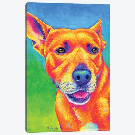 Fluorescent Dog Canvas Print #RBW72} by Rebecca Wang Canvas Art
