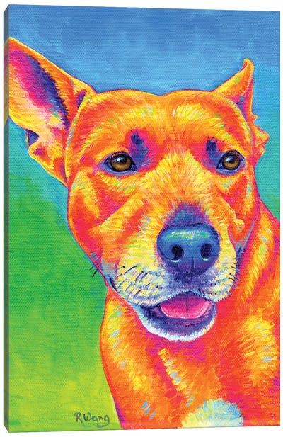 Fluorescent Dog Canvas Art Print