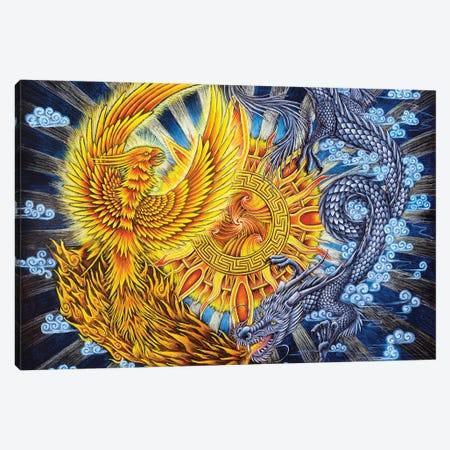 Phoenix And Dragon Canvas Print #RBW76} by Rebecca Wang Art Print