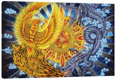 Phoenix And Dragon Canvas Art Print