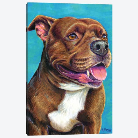 Staffordshire Bull Terrier Dog Canvas Print #RBW78} by Rebecca Wang Canvas Wall Art