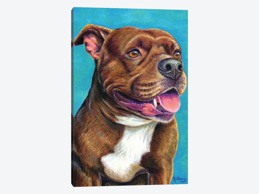 Staffordshire Bull Terrier Dog by Rebecca Wang 1-piece Canvas Wall Art