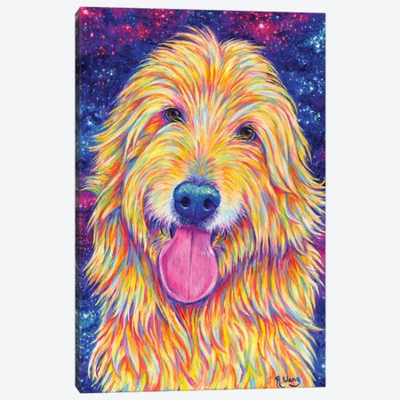 Starry Goldendoodle Canvas Print #RBW79} by Rebecca Wang Canvas Artwork