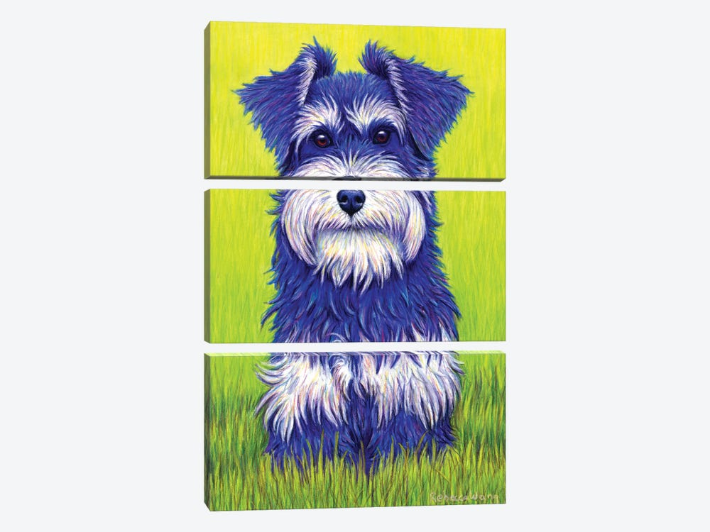 Curiosity - Miniature Schnauzer by Rebecca Wang 3-piece Canvas Wall Art