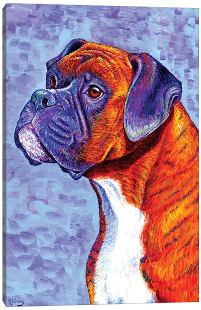 Devoted Guardian - Brindle Boxer Dog Canvas Art Print