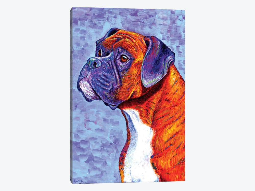 Devoted Guardian - Brindle Boxer Dog by Rebecca Wang 1-piece Canvas Wall Art
