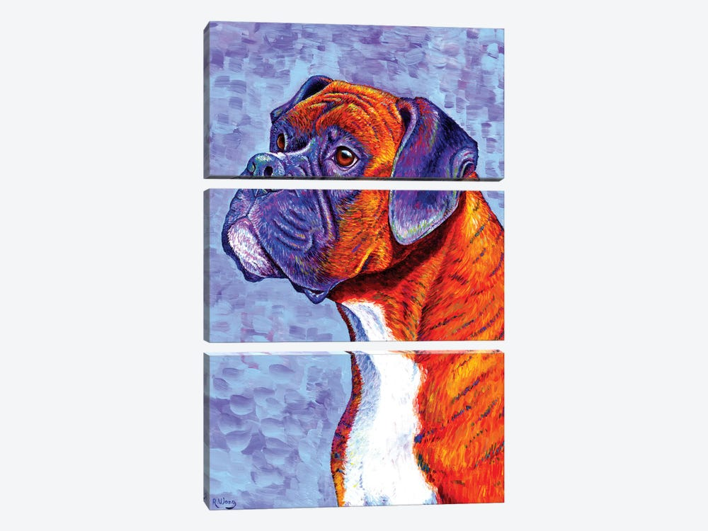 Devoted Guardian - Brindle Boxer Dog by Rebecca Wang 3-piece Canvas Wall Art