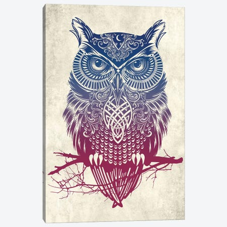 Warrior Owl 3-Piece Canvas #RCA11} by Rachel Caldwell Canvas Art Print