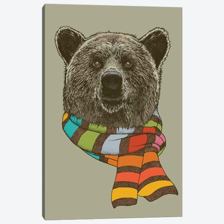 Bear Scarf 3-Piece Canvas #RCA13} by Rachel Caldwell Canvas Art Print