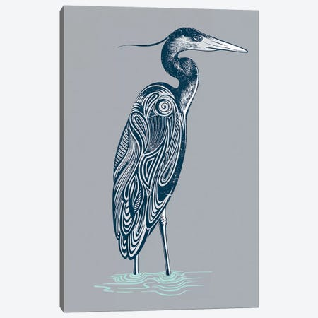 Blue Heron 3-Piece Canvas #RCA14} by Rachel Caldwell Canvas Art