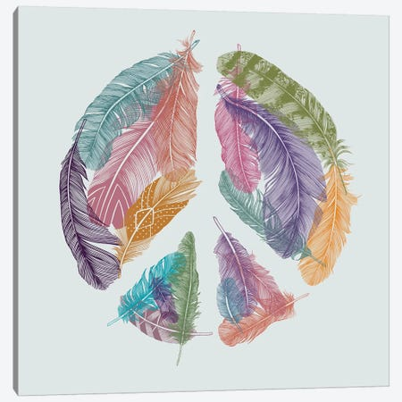 Feathers For Peace Canvas Print #RCA18} by Rachel Caldwell Art Print