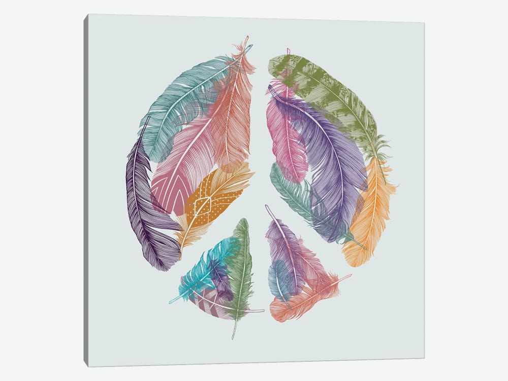 Feathers For Peace by Rachel Caldwell 1-piece Canvas Print