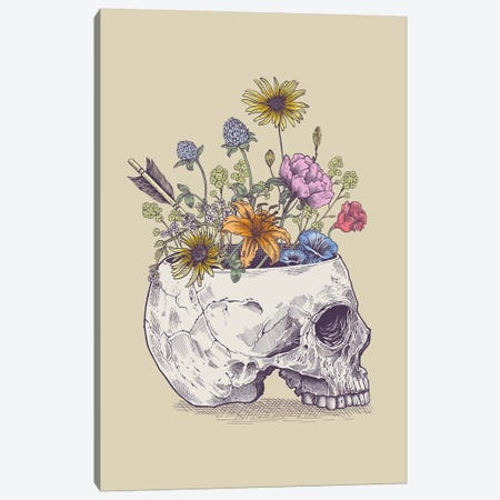 Half Skull Flowers Canvas Print #RCA21} by Rachel Caldwell Canvas Artwork