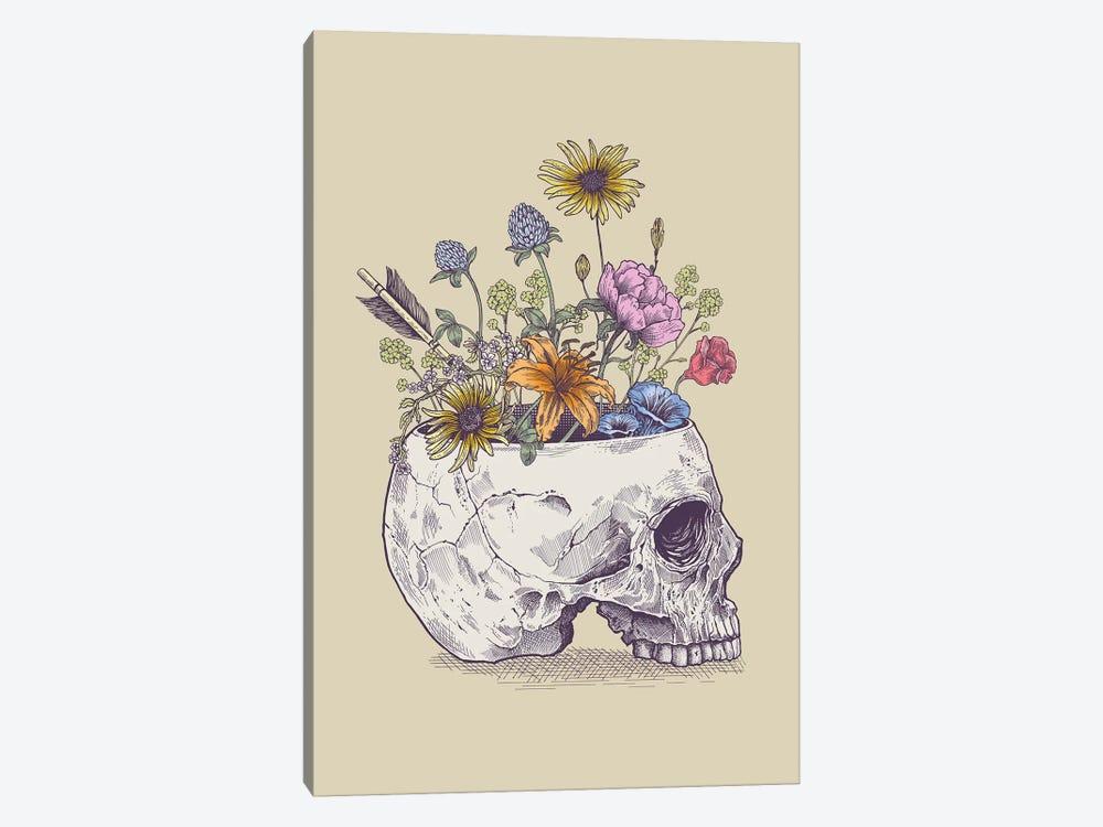 Half Skull Flowers by Rachel Caldwell 1-piece Canvas Art Print