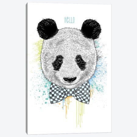 Hello Panda Canvas Print #RCA3} by Rachel Caldwell Canvas Art Print