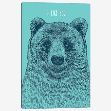 I Like You Bear Canvas Print #RCA4} by Rachel Caldwell Canvas Art