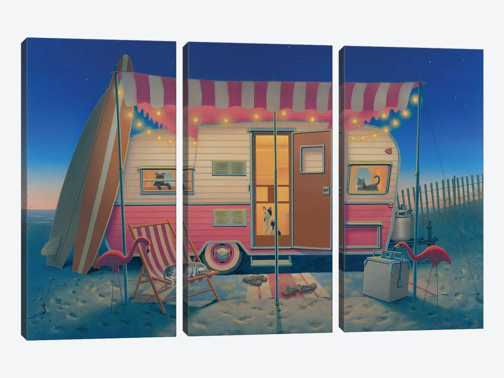 Happy Campers by Richard Courtney 3-piece Canvas Art Print