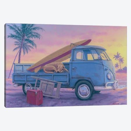The Beach Boy Canvas Print #RCC4} by Richard Courtney Canvas Artwork