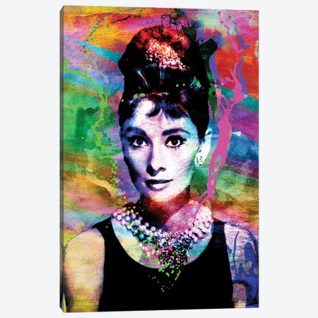 "Audrey Hepburn ""Breakfast At Tiffany'S"" Canvas Print #RCM118} by Rockchromatic Canvas Artwork"
