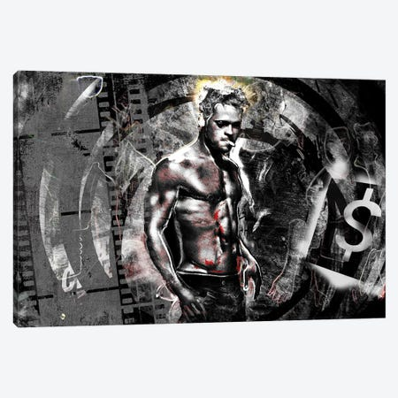 "Fight Club - Brad Pitt ""First Rule Of Fight Club"" Canvas Print #RCM128} by Rockchromatic Canvas Art Print"