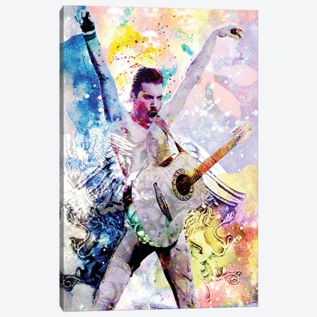 """Freddie Mercury - Queen """"Another One Bites The Dust"""" Canvas Print #RCM130} by Rockchromatic Canvas Wall Art"""