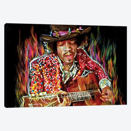 """Jimi Hendrix """"There's A Red House Over Yonder"""" Canvas Print #RCM137} by Rockchromatic Canvas Art Print"""